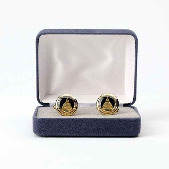 24 Karat Gold-Plated Etched Capitol Dome Cufflinks