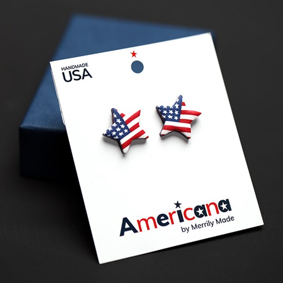 American Flag Star Shaped Earrings